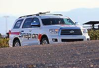 Mar 28, 2014; Las Vegas, NV, USA; The Toyota tow vehicle for NHRA funny car driver Cruz Pedregon during qualifying for the Summitracing.com Nationals at The Strip at Las Vegas Motor Speedway. Mandatory Credit: Mark J. Rebilas-