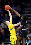 SIOUX FALLS, SD - MARCH 7: South Dakota State Jackrabbits guard Alex Arians #34 gets blocked by IPFW Mastodons guard Deonte Billups #15 at the 2020 Summit League Basketball Championship in Sioux Falls, SD. (Photo by Richard Carlson/Inertia)