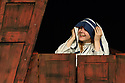 "Edinburgh, UK. 31.07.2017. Parallax Theatre pesents ""The Last Days of Judas Iscariot"", in the Pleasance Beyond, as part of Edinburgh Festival Fringe. Picture shows: Emma Wyverne (Mother Theresa). Photograph © Jane Hobson."
