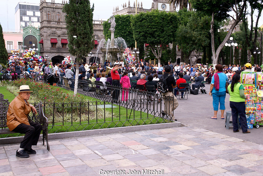 Band playing in the Zocalo, city of Puebla, Mexico. The historical center of Puebla is a UNESCO World Heritage Site.