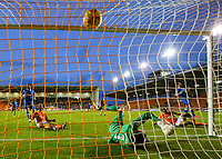 Portsmouth's Luke McGee can't keep out Blackpool's Viv Solomon-Otabor's shot which made the score 1-1<br /> <br /> Photographer Alex Dodd/CameraSport<br /> <br /> The EFL Sky Bet League One - Blackpool v Portsmouth - Saturday 11th November 2017 - Bloomfield Road - Blackpool<br /> <br /> World Copyright &copy; 2017 CameraSport. All rights reserved. 43 Linden Ave. Countesthorpe. Leicester. England. LE8 5PG - Tel: +44 (0) 116 277 4147 - admin@camerasport.com - www.camerasport.com