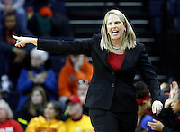 Maryland head coach Brenda Frese reacts to a call during the game Thursday in Charlottesville, VA. Photo/The Daily Progress/Andrew Shurtleff