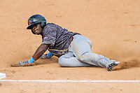 Quad Cities River Bandits outfielder Daz Cameron (16) slides into third base during a Midwest League game against the Beloit Snappers on June 18, 2017 at Pohlman Field in Beloit, Wisconsin.  Quad Cities defeated Beloit 5-3. (Brad Krause/Four Seam Images)
