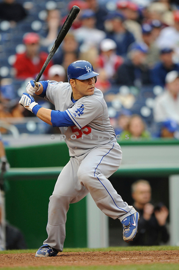 RUSSELL MARTIN, of the Los Angeles Dodgers, in action during the Dodgers game against the Washington Nations  at Nationals Park in Washington D.C.on April 25, 2010.   The Dodgers win the game 1-0....