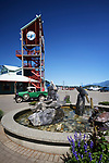 Port Alberni city centre Harbour Quay clock tower and a fountain. Vancouver Island, British Columbia, Canada 2018 Image © MaximImages, License at https://www.maximimages.com