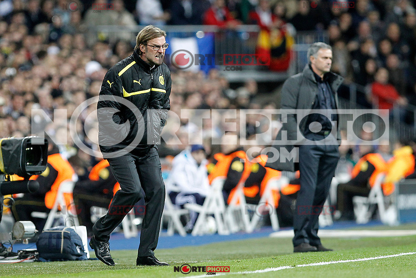 Real Madrid's coach Jose Mourinho (r) and Borusia Dortmund's coach Jurgen Klopp during Champions League 2012/2013 match.November 6,2012. (ALTERPHOTOS/Acero)