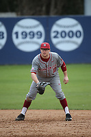 James Rudkin (10) of the Washington State Cougars in the field at first base during a game against the Loyola Marymount Lions at Page Stadium on February 26, 2017 in Los Angeles, California. Loyola defeated Washington State, 7-4. (Larry Goren/Four Seam Images)
