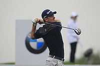 Justin Rose (ENG) tees off the 2nd tee during Thursday's Round 1 of the 2014 BMW Masters held at Lake Malaren, Shanghai, China 30th October 2014.<br /> Picture: Eoin Clarke www.golffile.ie