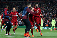 Liverpool's Divock Origi (right) celebrates with Xherdan Shaqiri (Ctr) and Dejan Lovren after scoring his side's fourth goal <br /> <br /> Photographer Rich Linley/CameraSport<br /> <br /> UEFA Champions League Semi-Final 2nd Leg - Liverpool v Barcelona - Tuesday May 7th 2019 - Anfield - Liverpool<br />  <br /> World Copyright © 2018 CameraSport. All rights reserved. 43 Linden Ave. Countesthorpe. Leicester. England. LE8 5PG - Tel: +44 (0) 116 277 4147 - admin@camerasport.com - www.camerasport.com