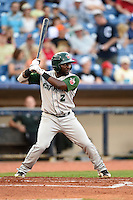 Fort Wayne TinCaps outfielder Ronnie Richardson (2) at bat during a game against the Lake County Captains on August 21, 2014 at Classic Park in Eastlake, Ohio.  Lake County defeated Fort Wayne 7-8.  (Mike Janes/Four Seam Images)