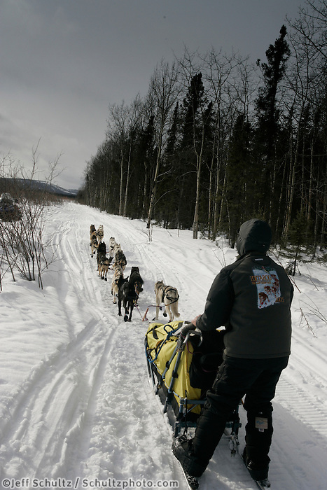 Mitch Seavey on the trail after leaving the Kaltag checkpoint.  2005 Iditarod Trail Sled Dog Race.
