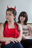 """Serbia. Vranje is a city and the administrative center of the Pčinja District in southern Serbia. «Jovan Jovanović Zmaj» Elementary School. Students during a theater performance on preventing violence and discrimination. The devil is the symbol of bad behavior on friends ( bad words, stealing, beating...). The Pestalozzi Children's Foundation (Stiftung Kinderdorf Pestalozzi) is advocating access to high quality education for underprivileged children. It supports in Vranje a project called"""" Education for child rights"""".17.4.2018 © 2018 Didier Ruef for the Pestalozzi Children's Foundation"""