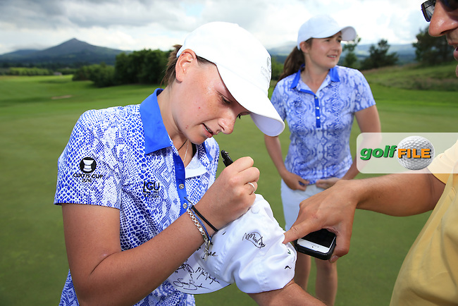Charlotte Thomas signs autographs after winning the 2016 Curtis Cup, played at Dun Laoghaire GC, Enniskerry, Co Wicklow, Ireland. 12/06/2016. Picture: David Lloyd | Golffile. <br /> <br /> All photo usage must display a mandatory copyright credit to &copy; Golffile | David Lloyd.