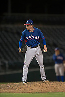 AZL Rangers relief pitcher Braden Pearson (37) looks in for the sign during an Arizona League game against the AZL Cubs 2 at Sloan Park on July 7, 2018 in Mesa, Arizona. AZL Rangers defeated AZL Cubs 2 11-2. (Zachary Lucy/Four Seam Images)