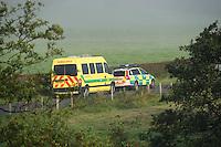 Two ambulances near Whitewell, Lancashire....Copyright..John Eveson, Dinkling Green Farm, Whitewell, Clitheroe, Lancashire. BB7 3BN.01995 61280. 07973 482705.j.r.eveson@btinternet.com.www.johneveson.com