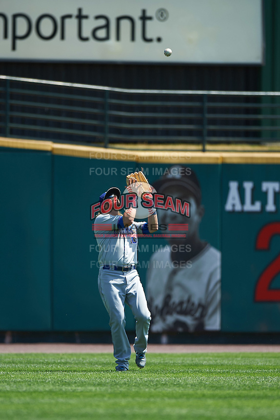 Durham Bulls left fielder Taylor Motter (13) catches a fly ball during a game against the Rochester Red Wings on July 20, 2016 at Frontier Field in Rochester, New York.  Rochester defeated Durham 6-2.  (Mike Janes/Four Seam Images)