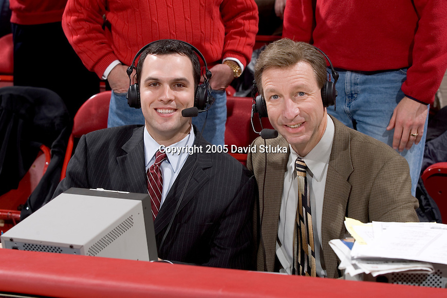MADISON, WI - MARCH 1:  ESPN announcers Mike Kelley (left) and Wayne Larrivee pose during the game at the Kohl Center on March 5, 2005 in Madison, Wisconsin. The Badgers beat the Boilermakers 64-52. Photo by David Stluka