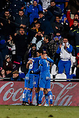 12th January 2018, Estadio Coliseum Alfonso Perez, Getafe, Spain; La Liga football, Getafe versus Malaga; Juan Cala (Getafe CF) celebrates his goal which made it it 1-0