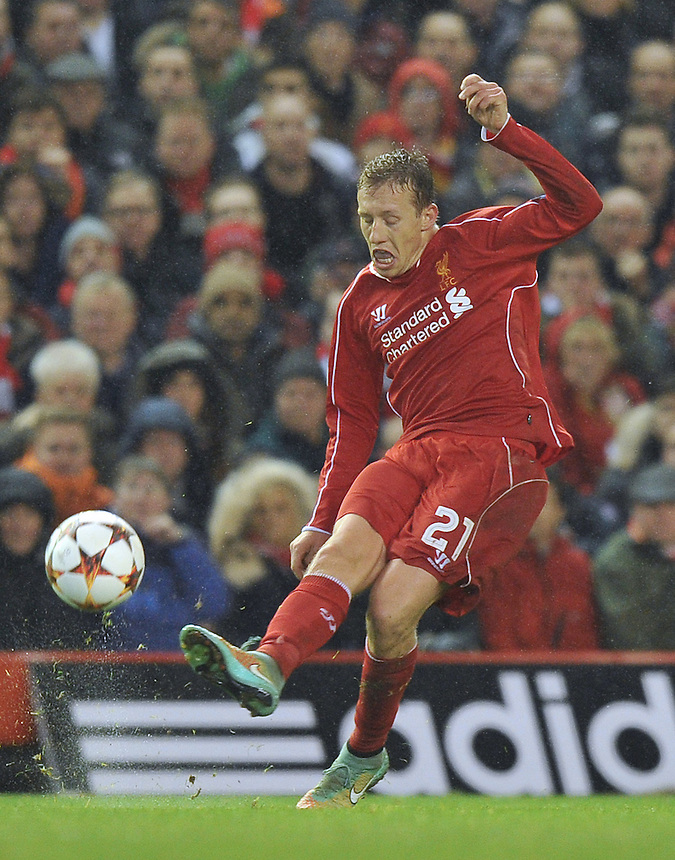 Liverpool's Lucas Leiva in action<br /> <br /> Photographer Dave Howarth/CameraSport<br /> <br /> Football - UEFA Champions League Group B - Liverpool v Basel - Tuesday 9th December 2014 - Anfield - Liverpool<br /> <br /> &copy; CameraSport - 43 Linden Ave. Countesthorpe. Leicester. England. LE8 5PG - Tel: +44 (0) 116 277 4147 - admin@camerasport.com - www.camerasport.com