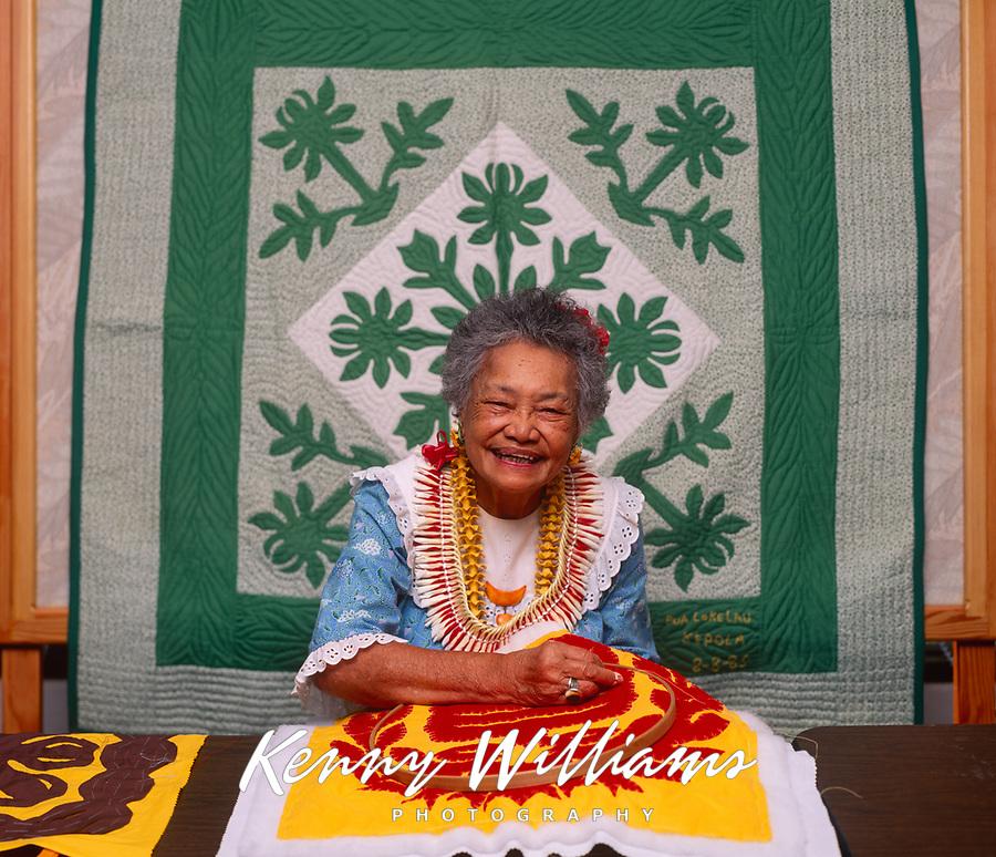 Deborah Kakalia, Master Hawaiian Quilt Maker, Bishop Museum, Honolulu, Oahu, Hawaii, USA.