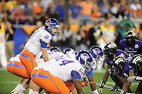 Jan. 4, 2010; Glendale, AZ, USA; Boise State Broncos quarterback (11) Kellen Moore prepares to take the snap against the TCU Horned Frogs in the 2010 Fiesta Bowl at University of Phoenix Stadium. Boise State defeated TCU 17-10. Mandatory Credit: Mark J. Rebilas-
