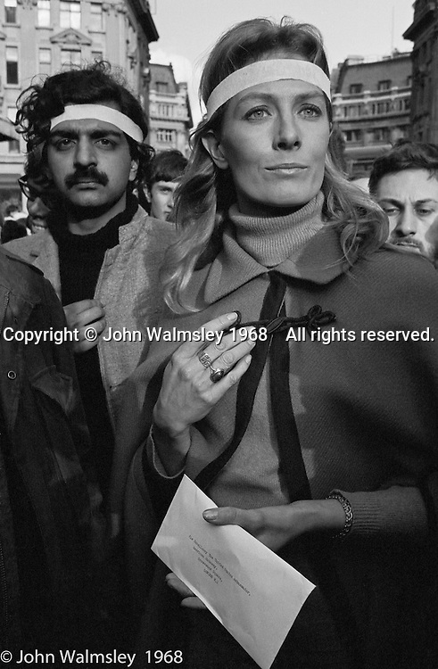 Vanessa Redgrave with the letter to the American Ambassador, Anti-Vietnam War demonstration march from Trafalgar Sq to Grosvenor Sq Sunday 17th March 1968.  I was told the headband was a Vietnamese sign of mourning for dead children.