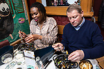 """BRUSSELS - BELGIUM - 16 December 2019 --  Restaurant """"Chez Léon"""" with a concept of serving """"Mussels and Fries"""", was established in 1893 in Brussels. It is the largest restaurant in the country in terms of turnover, number of customers and staff. -- Imma and Philippe having the famous mussels. For Philippe it is the 1st time at Chez Léon. -- PHOTO: Juha ROININEN / EUP-IMAGES"""