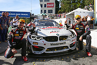 #82 BimmerWorld Racing, BMW M4 GT4, GS: James Clay, Tyler Cooke, Celebrate after winning the Fox 120