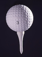 Studio shot of a golf ball on a golf tee. (Photo by Brian Cleary/www.bcpix.com)