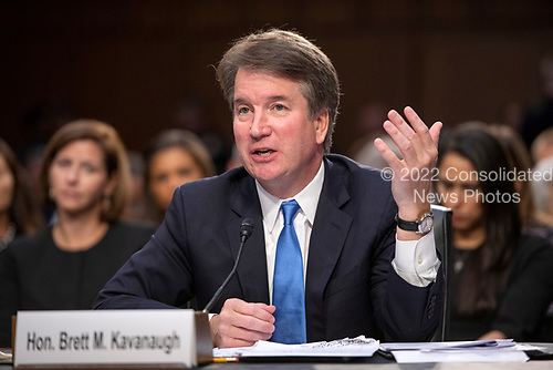 Judge Brett Kavanaugh testifies before the United States Senate Judiciary Committee on his nomination as Associate Justice of the US Supreme Court to replace the retiring Justice Anthony Kennedy on Capitol Hill in Washington, DC on Wednesday, September 5, 2018.<br /> Credit: Ron Sachs / CNP<br /> (RESTRICTION: NO New York or New Jersey Newspapers or newspapers within a 75 mile radius of New York City)