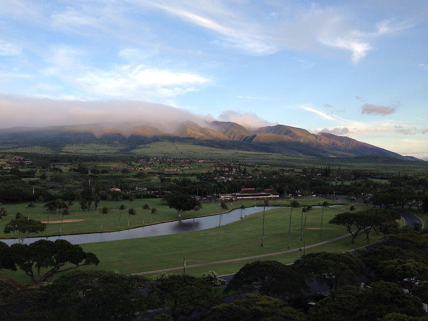 West Maui Mountains and Kaanapali Golf Course, Maui, Hawaii, US