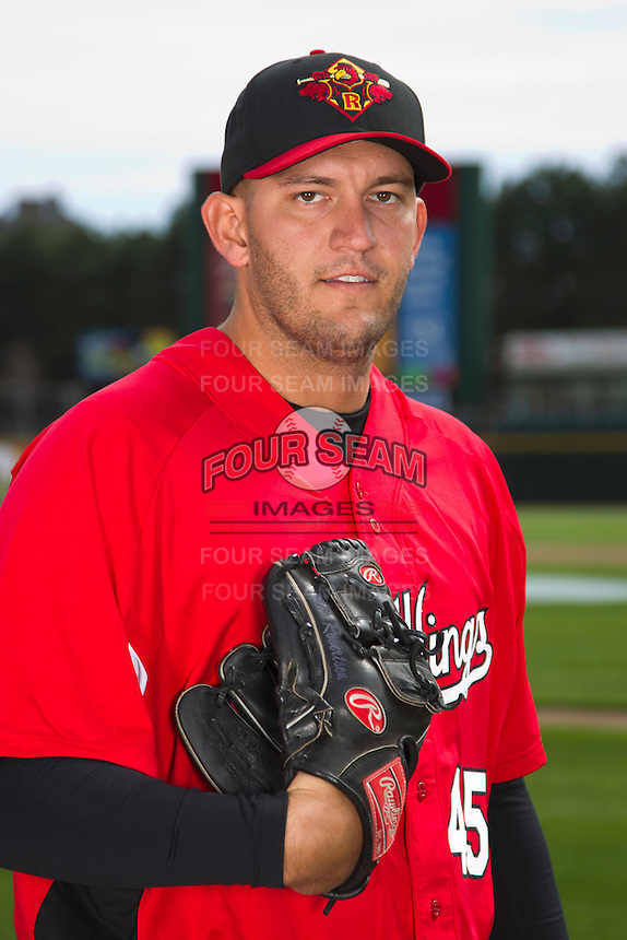Rochester Red Wings pitcher Tyler Robertson #45 poses for a photo during media day at Frontier Field on April 3, 2012 in Rochester, New York.  (Mike Janes/Four Seam Images)