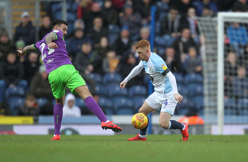 Blackburn Rovers Harrison Reed in action with Bristol City's Marlon Pack<br /> <br /> Photographer Mick Walker/CameraSport<br /> <br /> The EFL Sky Bet Championship - Blackburn Rovers v Bristol City - Saturday 9th February 2019 - Ewood Park - Blackburn<br /> <br /> World Copyright © 2019 CameraSport. All rights reserved. 43 Linden Ave. Countesthorpe. Leicester. England. LE8 5PG - Tel: +44 (0) 116 277 4147 - admin@camerasport.com - www.camerasport.com