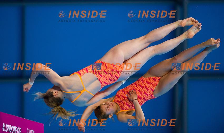 Team UKR KRASNOSHLYK Ganna and TATSENKO Vlada silver medal<br /> London, Queen Elizabeth II Olympic Park Pool <br /> LEN 2016 European Aquatics Elite Championships <br /> Diving<br /> Women's 10m synchronised platform final <br /> Day 02 10-05-2016<br /> Photo Giorgio Perottino/Deepbluemedia/Insidefoto