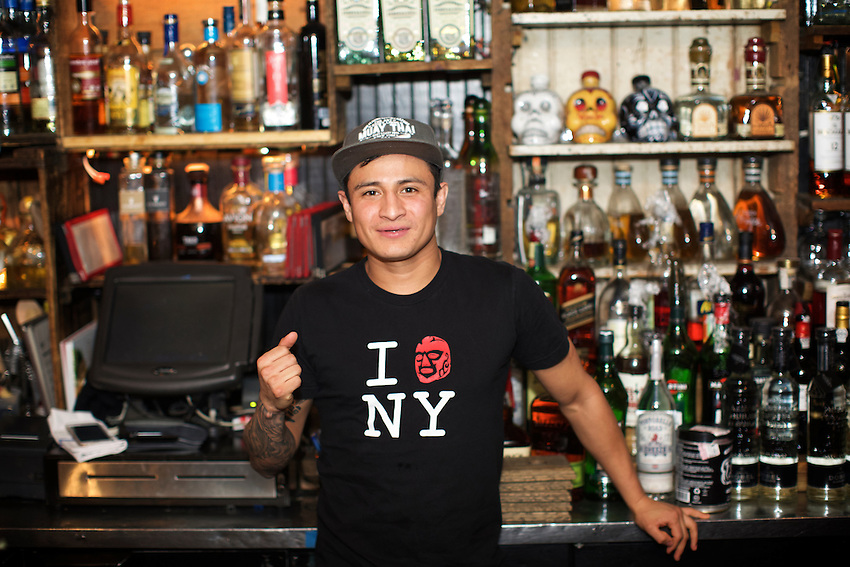 NEW YORK, NY - April 21, 2016: Staff members of La Esquina, the Nolita Mexican cafe, underground restaurant and taco stand. This year, La Esquina celebrates a decade in business.<br /> <br /> CREDIT: Clay Williams for Food Republic.<br /> <br /> &copy; Clay Williams / claywilliamsphoto.com