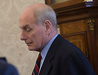 White House Chief of Staff John Kelly listens during a meeting February 9, 2018 at The White House in Washington, DC. Credit: Chris Kleponis / CNP /MediaPunch