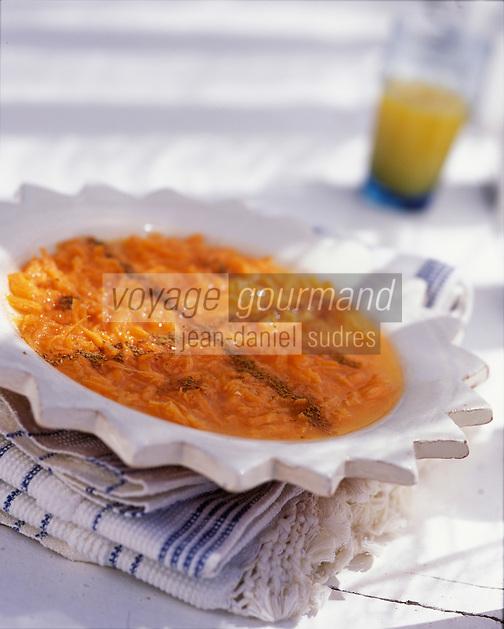 """Afrique/Maghreb/Maroc/Essaouira : Carottes à l'orange et à la cannelle - Recette de Latifa Akroum cuisinière de la villa """"Dar Adul"""""""