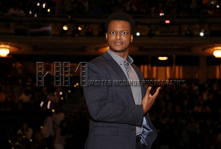 """during the  #EduHam matinee performance Q & A for """"Hamilton"""" at the Richard Rodgers Theatre on 3/28/2018 in New York City."""