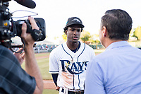 Peoria Javelinas shortstop Lucius Fox (5), of the Tampa Bay Rays organization, talks to the media after winning the Arizona Fall League Championship game against the Salt River Rafters at Scottsdale Stadium on November 17, 2018 in Scottsdale, Arizona. Peoria defeated Salt River 3-2 in 10 innings. (Zachary Lucy/Four Seam Images)