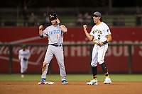 AFL West shortstop Cole Tucker (2), of the Surprise Saguaros and the Pittsburgh Pirates organization, reacts to the umpire's call after a stolen base attempt by Nico Hoerner (17) during the Fall Stars game at Surprise Stadium on November 3, 2018 in Surprise, Arizona. The AFL West defeated the AFL East 7-6 . (Zachary Lucy/Four Seam Images)