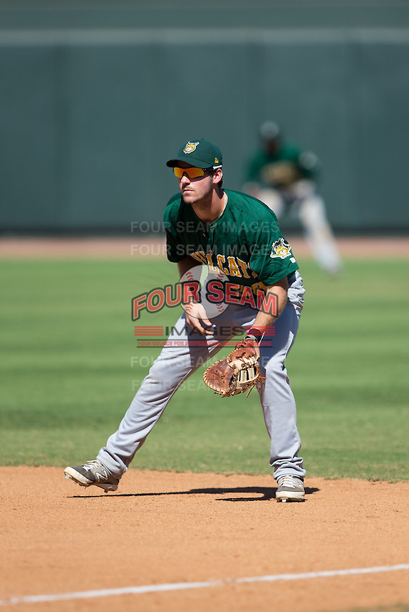 Lynchburg Hillcats first baseman Mike Papi (38) on defense against the Winston-Salem Dash at BB&T Ballpark on August 2, 2015 in Winston-Salem, North Carolina.  The Hillcats defeated the Dash 8-3.  (Brian Westerholt/Four Seam Images)