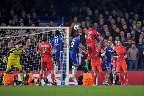 11.03.2015. Stamford Bridge, Chelsea, London England. UEFA Champions League second leg. Chelsea versus Paris St Germain.  Thiago Silva (psg) with the looping headed goal past Thibaut Courtois (che) which put PSG through on away goal rule