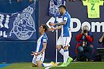 CD Leganes' Alexander Szymanowski (l) and Diego Rico celebrate goal during La Liga match. February 25,2017. (ALTERPHOTOS/Acero)