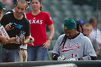 Sacramento River Cats designated hitter Manny Ramirez #11 signs autographs before the Pacific Coast League baseball game against the Round Rock Express on May 22, 2012 at The Dell Diamond in Round Rock, Texas. The Express defeated the River Cats 11-5. (Andrew Woolley/Four Seam Images)
