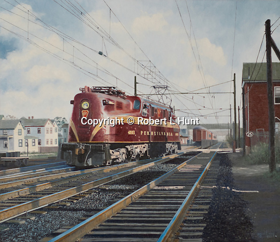 "PRR GG-1 electric locomotive backing through the crossover  to attach to a train in South Amboy NJ, just outside York City. Oil on canvas, 26"" x 30""."