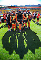 The NZ All Blacks Sevens team huddle on day one of the 2017 HSBC World Sevens Series Wellington at Westpac Stadium in Wellington, New Zealand on Saturday, 28 January 2017. Photo: Dave Lintott / lintottphoto.co.nz