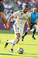 Landover, MD - August 4, 2018: Real Madrid forward Karim Benzema (9) in action during the match between Juventus and Real Madrid at FedEx Field in Landover, MD.   (Photo by Elliott Brown/Media Images International)