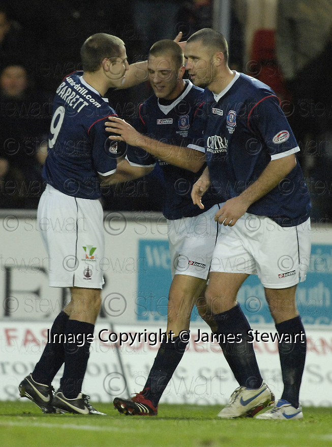 26/12/2007      Copyright Pic: James Stewart.File Name : sct_jspa02_falkirk_v_ict.GERARD AAFJES IS CONGRATULATED AFTER HE SCORES FALKIRK'S FIRST.James Stewart Photo Agency 19 Carronlea Drive, Falkirk. FK2 8DN      Vat Reg No. 607 6932 25.Office     : +44 (0)1324 570906     .Mobile   : +44 (0)7721 416997.Fax         : +44 (0)1324 570906.E-mail  :  jim@jspa.co.uk.If you require further information then contact Jim Stewart on any of the numbers above.........