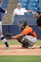 Catcher Luis Campusano-Bracero (37) of Cross Creek High School in Augusta, Georgia playing for the Baltimore Orioles scout team during the East Coast Pro Showcase on August 3, 2016 at George M. Steinbrenner Field in Tampa, Florida.  (Mike Janes/Four Seam Images)