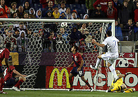 Jonathan Bornstein(12), Tim Ream(6) and Marcus Hahnemann(23) of the USA MNT watch Oscar Cardoza(7) of Paraguay score during an international friendly match at LP Field, in Nashville, TN. on March 29, 2011. Paraguay won 1-0.